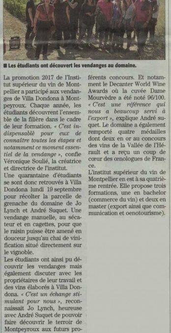 Article vendanges 2016